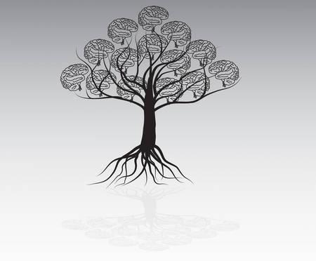 Brain tree illustration, tree of knowledge Vector