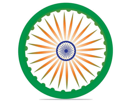 ashoka: Indian Independence Day concept with 3D Ashoka wheel on national flag colors background and text 15 August