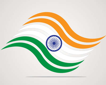 Indian Flag background with Asoka wheel on white background.  Vector