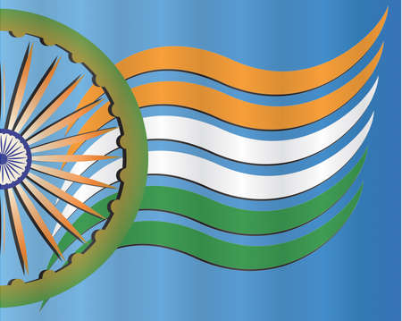 Indian Independence Day background with national flag colors stripes, Ashoka wheel and text 15 August
