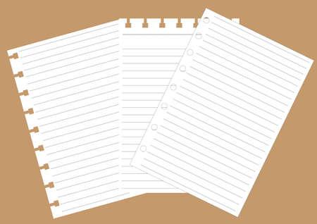three White notebook on Brown background