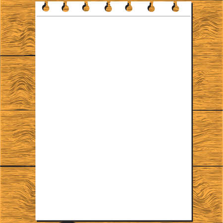 paper on wooden table Vector