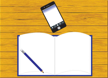 Blank notepad on a wooden surface. Illustration