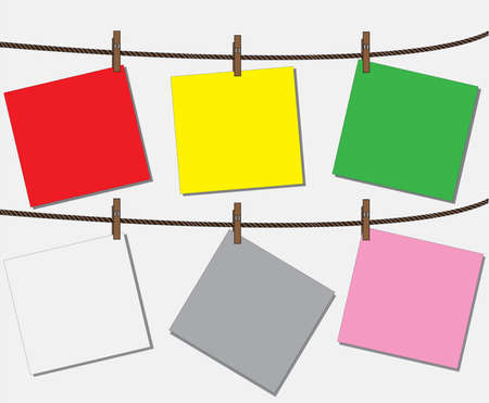 Blank worksheet Color note paper attached to a clothesline with pin - vector