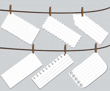 Blank worksheet note paper attached to a clothesline with pin - vector Illustration