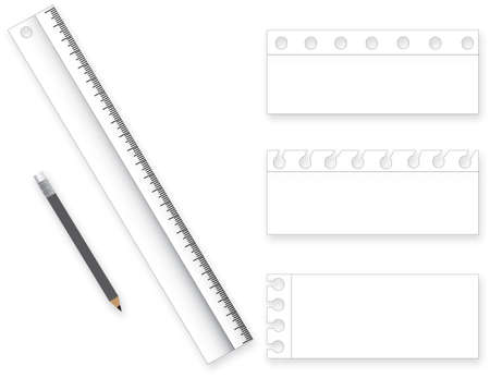 Collection of various white note papers, ready for your message. Vector illustration and pencils Ruler.