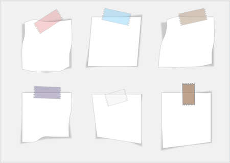 Collection of various white note papers, ready for your message. Vector illustration. Illustration