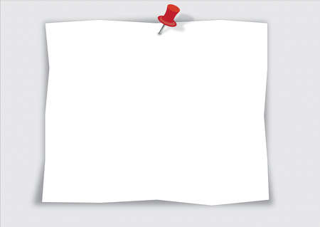note paper with red push pin isolated on white background