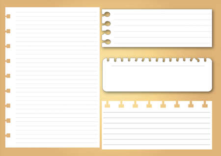 Collection of various white note papers, ready for your message  Vector illustration