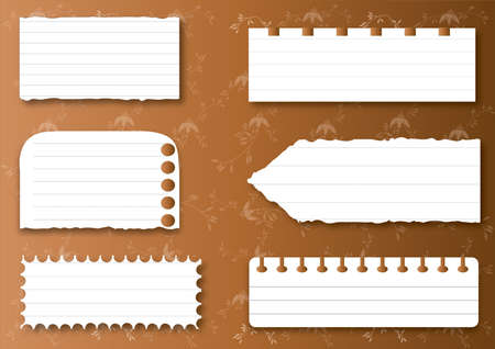 Collection of various white note papers, ready for your message  Vector illustration  Vector