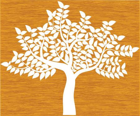 witte boom silhouet op de achtergrond van hout, vector