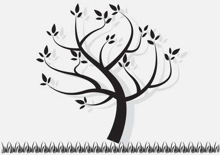 Vector illustration. Tree and grass.