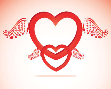 Valentine day heart with angel wings paper-craft greeting card Vector