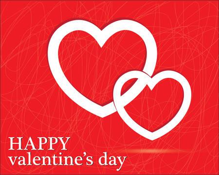 Red Heart Paper Sticker With Shadow Valentine