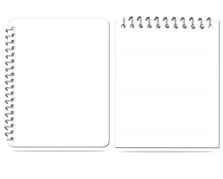 white notebook  blank paper illustration