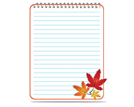 Notepad and leaves maple