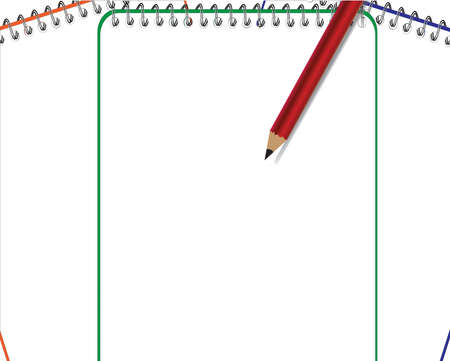 Blank notepad with bookmarks and pencil Vector