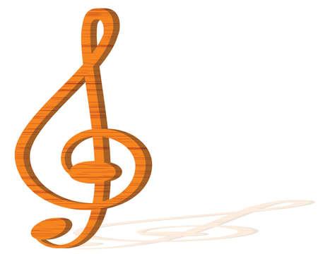 octaves: Illustration of  clef made of wood  Illustration