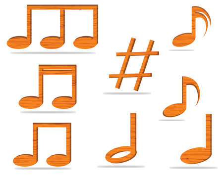 music notes vector: Set of music notes vector made of wood  Illustration