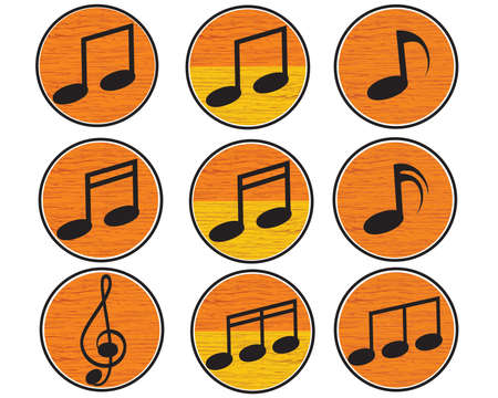 Icon of Music Player on Round 3 D Buttons   Vector