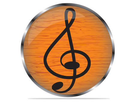 Vector wood multimedia musical note icon   button, design element Vector