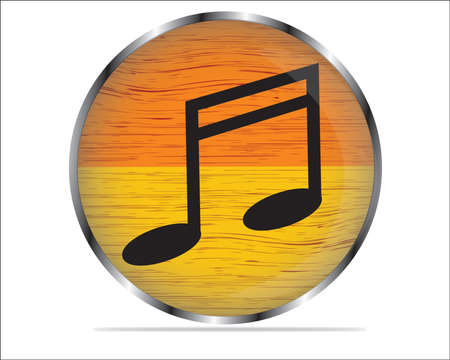Vector wood multimedia musical note icon   button, design element
