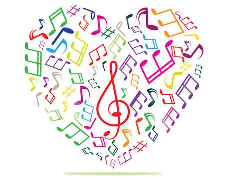 heart tone: M�sica en el coraz�n colorido Vectores