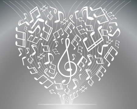 Vector black and white music background with treble clef of heart shaped