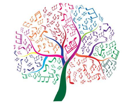 simbolos musicales: Árbol abstracto musical para su diseño Vectores