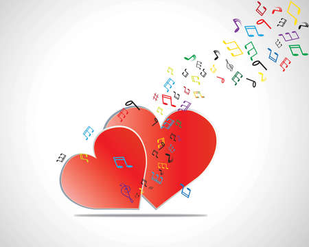 Happy Valentines Day Card with Heart, Music Notes  Vector Illustration Vector
