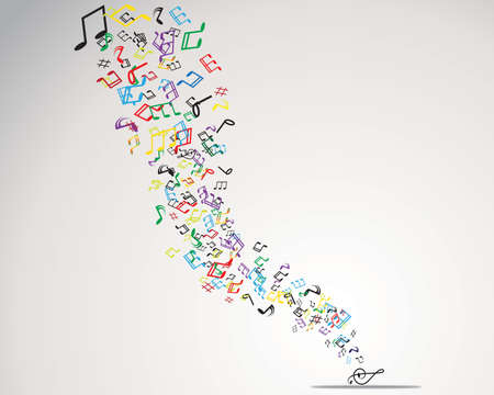 Vector Illustration of an Abstract Background with Colorful Music notes Illustration