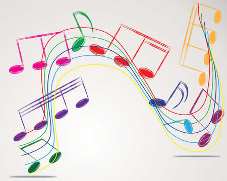 Vector musical notes staff background for design use Illustration