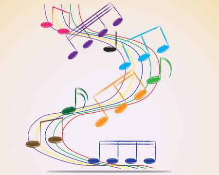 Multicolour musical notes staff background  Vector illustration  Vector