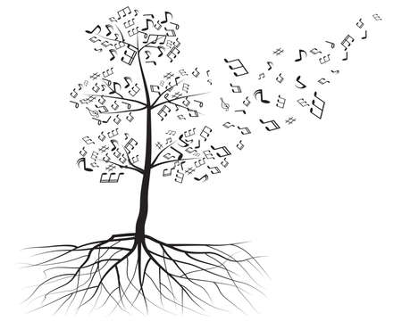 vector tree with musical notes Vector