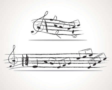eight note: Various music notes on stave, illustration