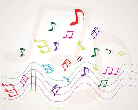 alt: Various music notes on stave, illustration