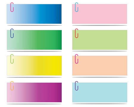 Set of blank post-it notes with clip, vector  illustration Illustration