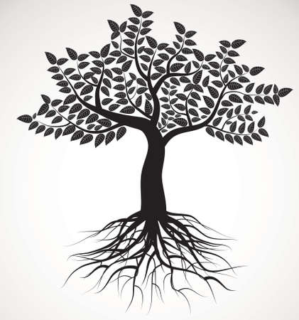 tree with roots and foliage, vector image Illustration