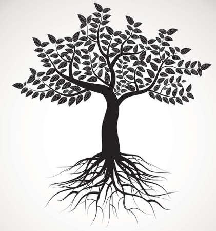 tree roots: árbol con raíces y follaje, vector