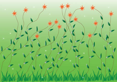 Grass With Flowers Set, Illustration