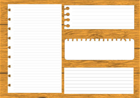 Collection of various white note papers, ready for your message on wood background Vector