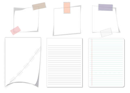 collection of various white note papers on white background. each one is shot separately Illustration