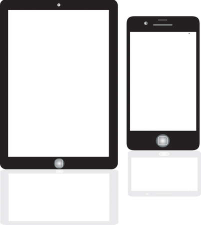 e reader: tablet computer and mobile phone icons