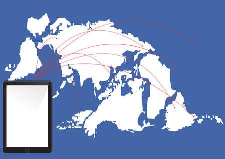 fictional: Tablet network ,Social network background Illustration