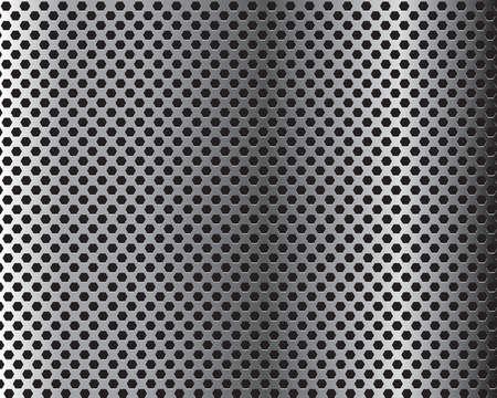 Metal Hexagon Grid on Black Background. Vector Illustration