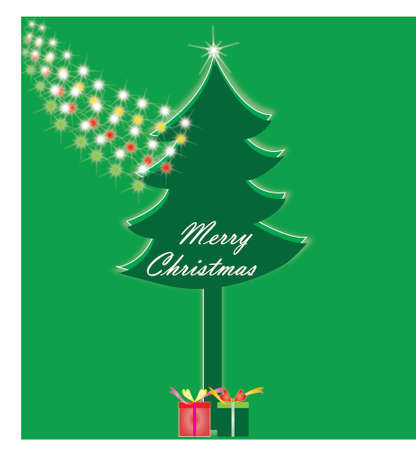 green tree: Merry Christmas lettering green tree background, vector illustration