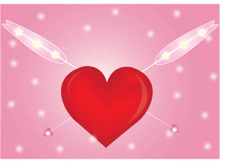 rubin: red heart with arrows isolated on pink background. Valentine