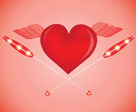 rubin: red heart with arrows isolated on red background. Valentines day concept Illustration