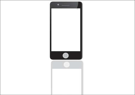 touch screen phone: Black smart phone with touch screen blank isolated on white background Illustration