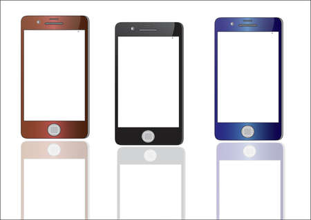 touch screen phone: Smart phone with touch screen blank isolated on white background